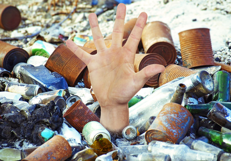 Hand in garbage Cans Earth Fear Man Rubbish Abstract Bottles Concept Dumpsite Ecology Environment Environment Pollution Environment Protection Future Garbage Hand Help Human Hand Landfill Metal Problem Recyling Sustainability Sustainable Resources Waste