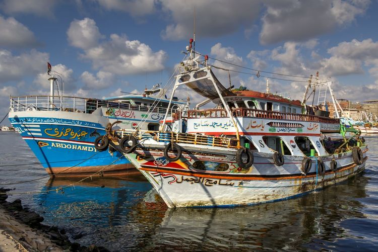 Fishing boats Water Transportation Cloud - Sky Nature Ship Fishing Outdoors No People Nabilelsherif Canonphotography Canon Egypt Raselbar Nile River Nile