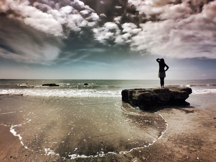 Beach Woman Silhouette Exploring Adventure Seaside Enjoying The View Clouds And Sky Summer Popular Photos