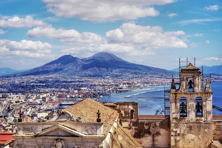 Architecture Building Exterior Built Structure Sky Cloud - Sky Mountain Town No People Outdoors Day Cityscape Roof Nature City Volcano Vesuvio Vesuvius  Napoli Naples Naples, Italy Italia Italy