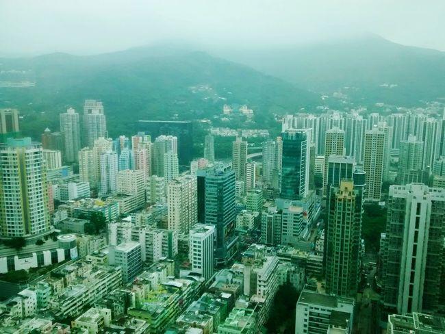 Hong Kong Tsuen Wan Mountains Buildings Top View