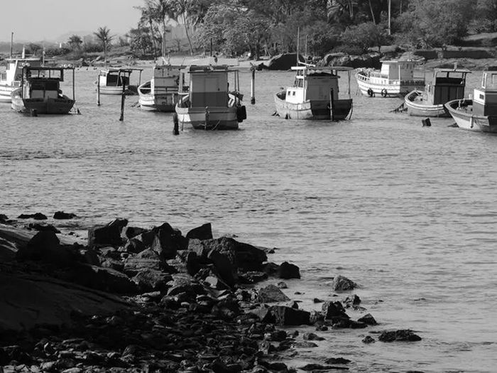 Fishing Boats Black And White Beautiful Place Taking Photos