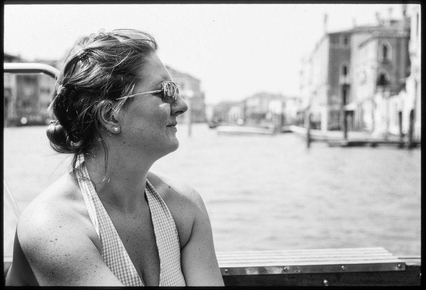 Beatrice in Venezia. Beautiful Woman Outdoors Venice Venezia Italia Italy Water Romance Romantic Boat Woman Sunglasses Blackandwhite Film Kodak Kodak Tri-X 400 Tri-X Leica Summitar
