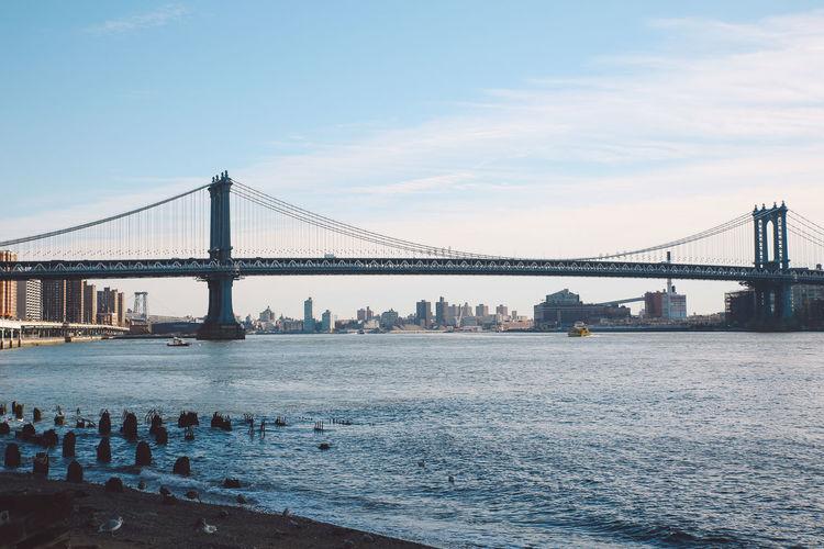 Manhattan bridge over river