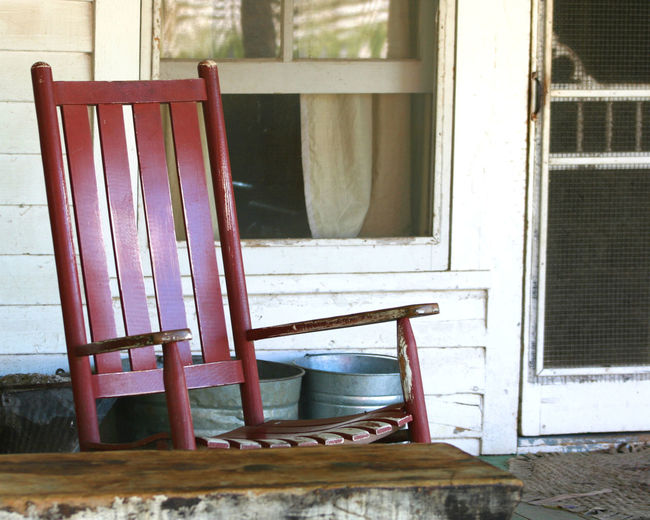 Rocker on the Porch Antique Farm Farmhouse Absence Chair Curtain Day Empty Indoors  No People Open Door Porch Rocker Rocking Chir Seat Window