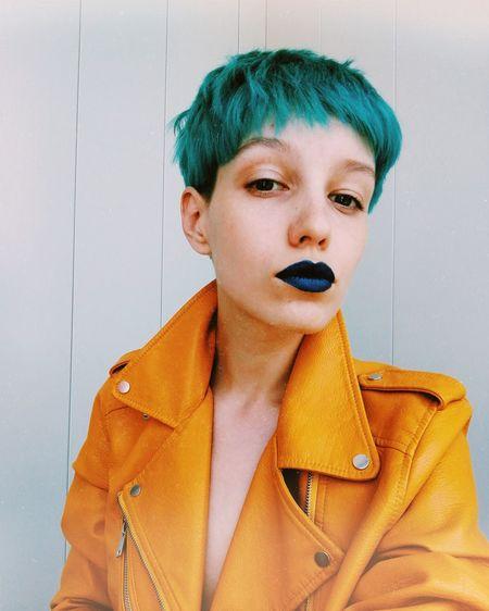Color Hair Portrait Beautiful Woman Young Women Beauty Headshot Fashion Arts Culture And Entertainment Collar Fashion Model Women Make-up Lip Gloss Lipstick