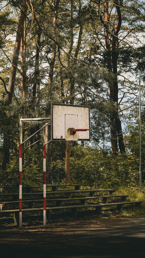 Basketball hoop against trees