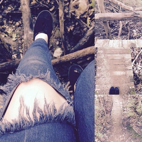 Wooden bridge sitter. Wood Bridge Sitting Feet Me Woods Walking Fun Yay Whoa Yup Like Pretty Faveset