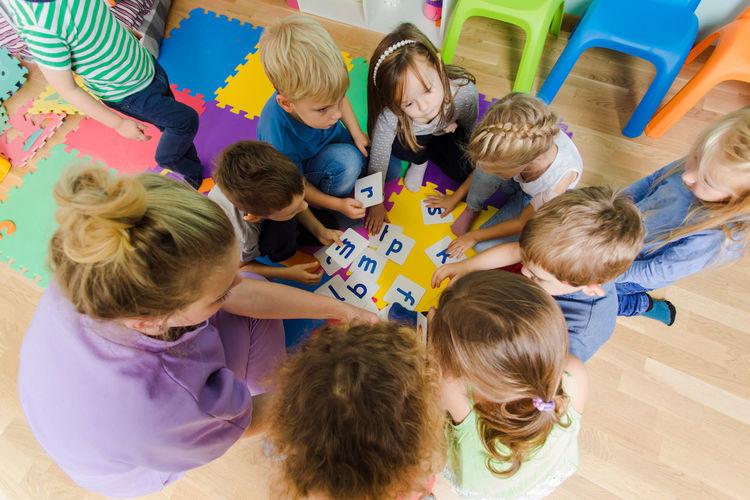 Kids sitting in classroom