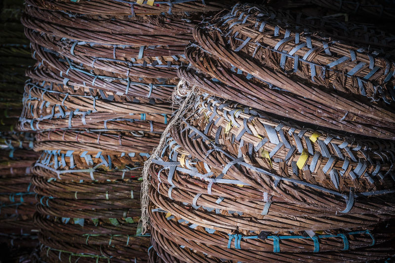 Full frame shot of stacked wicker baskets