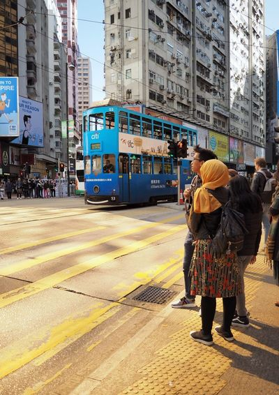 Causeway Bay Tram in the morning Real People Men Architecture Built Structure Large Group Of People Building Exterior City Colour Your Horizn