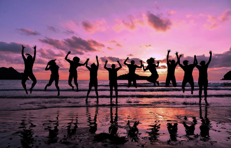 Arms Raised Beach Cloud - Sky Crowd Enjoyment Fun Group Of People Holiday Horizon Over Water Human Arm Large Group Of People Men Nature Outdoors Real People Sea Silhouette Sky Sunset Water EyeEmNewHere