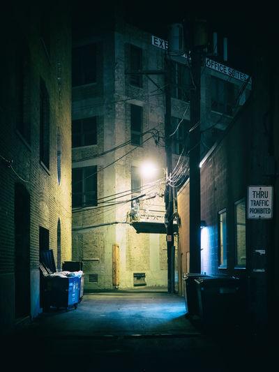Chicago Lamp Post Security Alley Architecture By Night City City By Night Dark Alley Dark Windows Eerie Empty Forsaken Garbage Bin Illuminated Lamp Night No People Street
