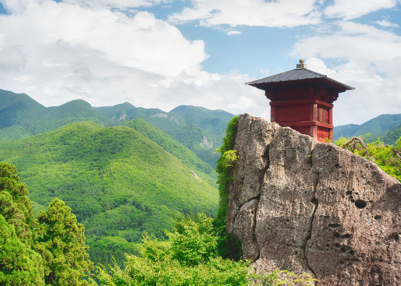 Yamadera Japan Shrine Shrine Of Japan Shrines & Temples YAMAGATA Beauty In Nature Cloud - Sky Day Green Color Land Mountain Mountain Range Nature No People Non-urban Scene Outdoors Plant Scenics - Nature Sky Tranquil Scene Tranquility Travel Destinations Tree Yamadera