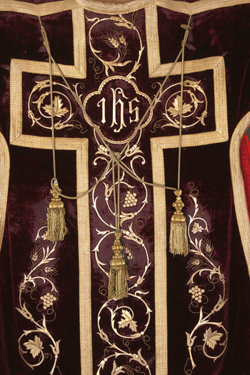 Golden embroidered Church vestments Art And Craft Belief Catholic Ceremonial Ceremony Chasuble Christian Christianity Church Clothing Embroidered Embroidery Faith Gold Golden Ihs Old Religion Religious  Sacred Spirituality Symbol Symbolic  Worship