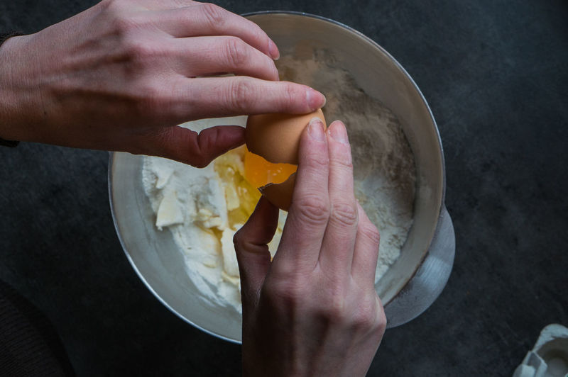 Cropped hand putting egg in flour and butter