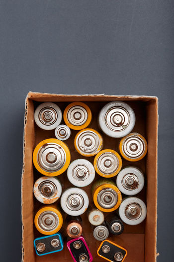 Batteries in box on table