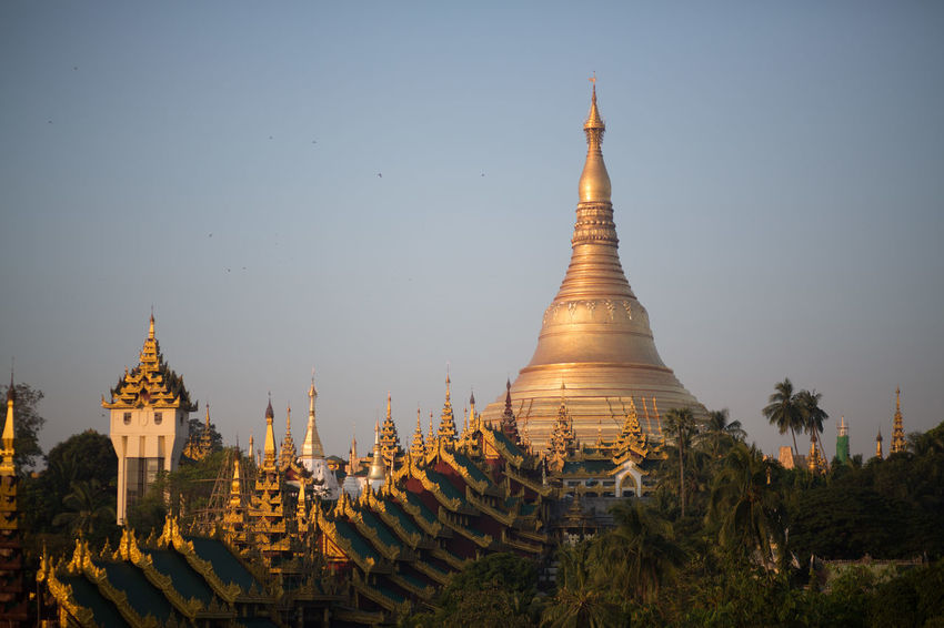 Shwedagon Pagoda at dawn, Yangon, Myanmar Yangon Yangon, Myanmar Architecture Belief Buddhism Building Building Exterior Built Structure History Myanmar No People Outdoors Place Of Worship Religion Sky Spirituality Tourism Travel Travel Destinations