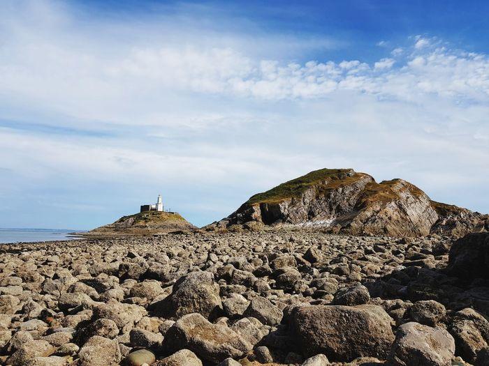 Wales Coast Path The Mumbles Lighthouse Beach Rock - Object Sky Landscape Cloud - Sky Arid Landscape Horizon Over Water Ocean Seascape Rocky Coastline Coast