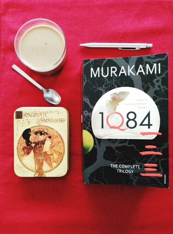 Moments of peace Haruki Murakami 1Q84 CoffeTime Taking Photos TAKINGNOTES Alone Quietness Peace Reading A Book Reading And Drinking Coffee Chocolate♡ Picturing Individuality Compositions In Red Arragements