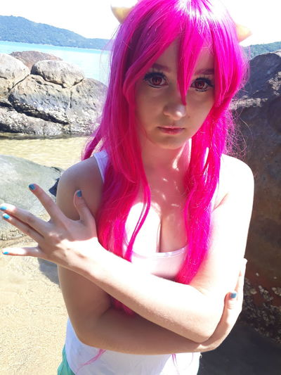 Young Adult Beach Beauty Summer Vacations Outdoors Beautiful Woman One Person One Woman Only One Young Woman Only Only Women Adult Day Young Women Nature Cosplay Cosplayer Cosplay Makeup Anime Wig Pink Color ElfenLied Lucy♡ Nyu Kaede