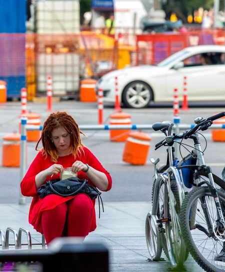 Transportation One Person Bicycle Mode Of Transport Sitting Outdoors Day Portrait Young Women People Young Adult Adult Adults Only Street Streetphotography Street Photography The Street Photographer - 2017 EyeEm Awards The Street Photographer - 2017 EyeEm Awards Slava Olshevskaya