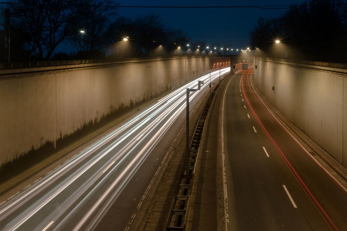 Early morning light trails. Racing Direction Highway Light Trail Long Exposure Motion Night No People Race Track Road Speed Street Street Light Traffic Tunnel Vehicle Light