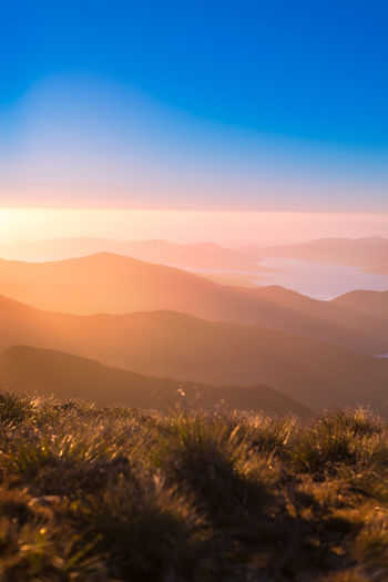 Beautiful view from the Mount Stokes over the Marlborough Sounds Hills Travel Beauty In Nature Dawn Environment Fog Idyllic Landscape Mountain Mountain Range Nature New Zealand No People Outdoors Plant Scenics - Nature Sky Sunlight Sunrise Tranquil Scene Tranquility Travel Destinations