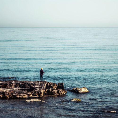 Nature Sea Fisherman Crete Greece Greece Silhouette Travel