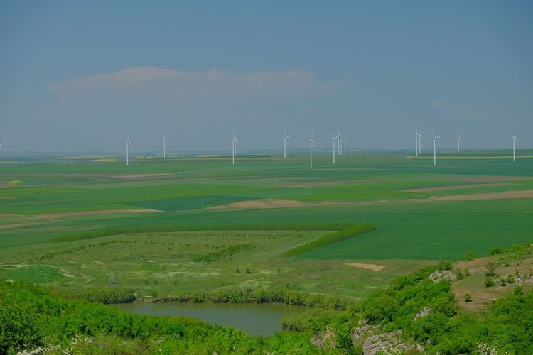 Field with wind turbines to produce green energy Wind Turbine Wind Power Technology Rural Scene Power In Nature Alternative Energy Sustainable Resources Electricity  Fuel And Power Generation Industrial Windmill Renewable Energy Traditional Windmill Windmill Sustainable Lifestyle