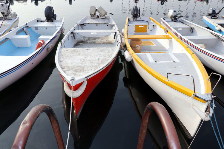Boats Diminishing Perspective High Angle View Multicolor No People Outdoors Ready To Go Row Of Things Water