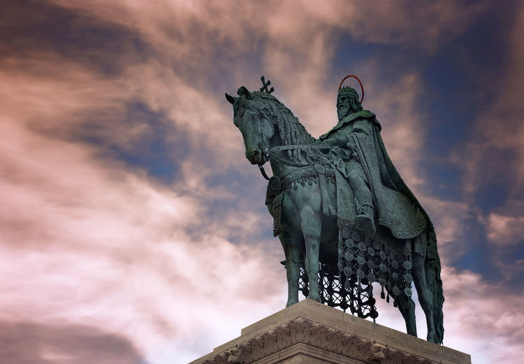 Budapest Colors Historical Monuments Hungary KINGDOM King Architecture Art And Craft Cloud - Sky Europe History Human Representation King - Royal Person King And Horse Low Angle View Monument No People Representation Sculpture Statue The Past Travel Destinations