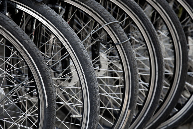 ... Wheel Transportation Mode Of Transportation Close-up In A Row Stationary Selective Focus Full Frame Land Vehicle Bike Bicycle