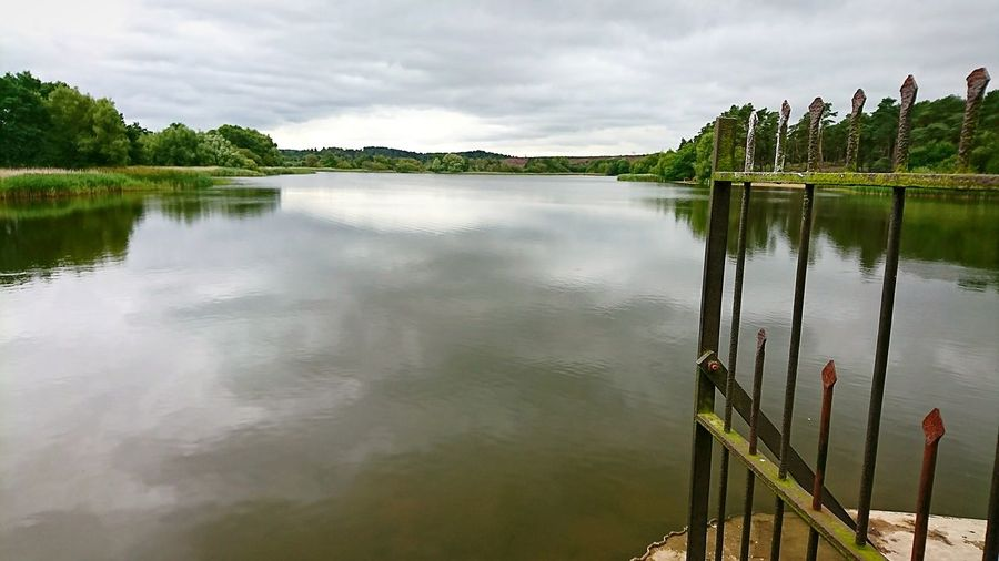 Empty Pond Empty Lake Pond Pond And Gate Nature Reserve National Park Metal Tranquil No People Vast Isolated Metal Gate Gate Fence Water Tree Lake Rural Scene Reflection Sky Landscape Cloud - Sky