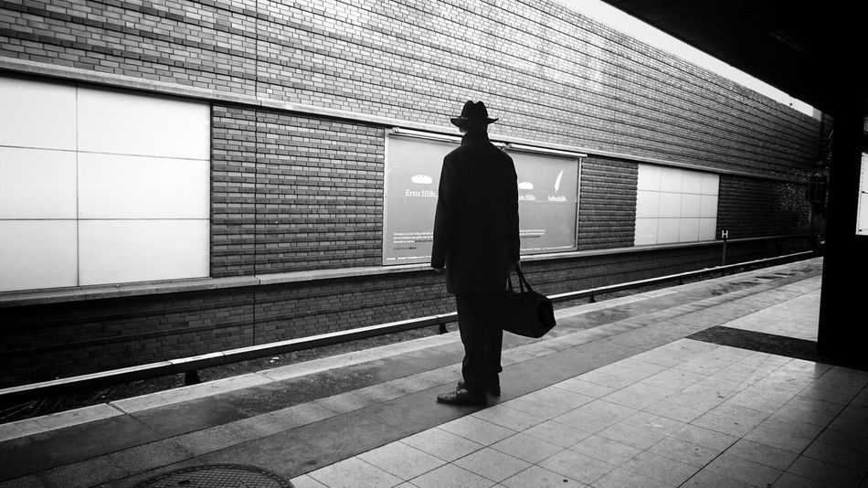 I'm on my way Public Transportation Notes From The Underground Commuting Rush Hour My Daily Commute Train Station People Watching Platform Man Hat Silhouette Berliner Ansichten My Fuckin Berlin Eye4photography  Streetphotography Bag Man Standing Lifestyles Blackandwhite Black And White Black & White