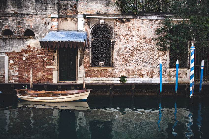 The Italian series / Canon 5d / 35mm Venice, Italy Architecture Boat Building Building Exterior Built Structure Canal Club Day Nature Nautical Vessel No People Old Outdoors Reflection Religion Stone Wall The Past Venice Wall Wall - Building Feature Water Waterfront Window
