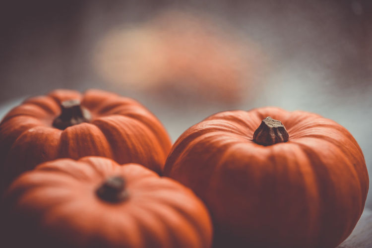 Three little pumpkins on a wooden table with beautiful blurred colorful background