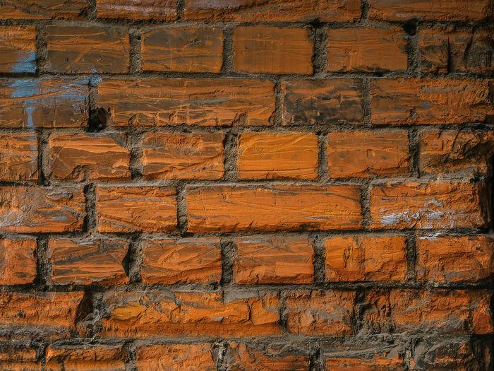 Close-Up Of Old Brown Brick Wall