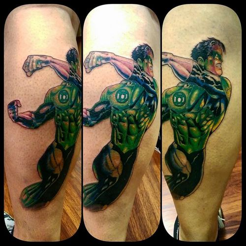 Start of a green lantern project :) Greenlantern Tattoo Torstenmatthes Check This Out Fullcustomtattoo Tattooartist  Mrttattoo Torstenmatthes DCcomic