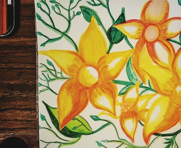 I wanted a new spring picture. It's not happening outside, so I am working on an indoor model😊 A Work In Progress Sketching Water Color Pencil Activity After The Blizzard Backgrounds Textures And Surfaces Pattern, Texture, Shape And Form Pattern Pieces Getting Creative Copy Space Mobile Photography Yellow Green White Brown Orange Orange Color Yellow Flowers Orange Flowers Orange And Yellow Flower Orange And Yellow Watercolor Flowers Anna Bethdrawing Art Colorful