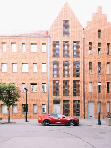 Architecture Red Building Exterior Car Street City Transportation Outdoors Built Structure Day Gdansk Gdansk, Poland Gdansk (Danzig)