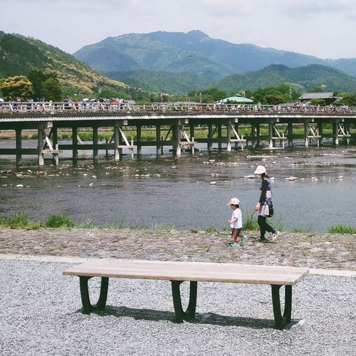 People And Places Mountain Outdoors Bridge - Man Made Structure Connection Riverside River View Bridge Nature Mountain Range Japan Kyoto Arashiyama Kyoto