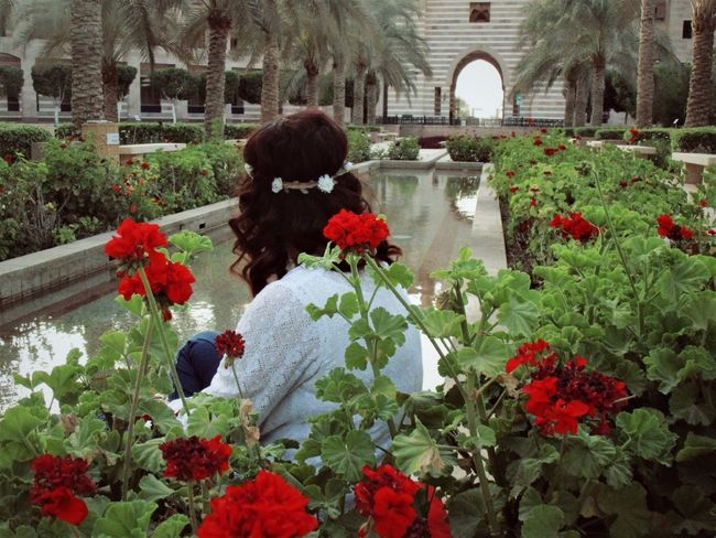 Flower Architecture Outdoors Nature Beauty In Nature Water Freshness Flower Head One Person Growth Plant Built Structure AUC Growth Plant Flowers,Plants & Garden Egypt Flower Photography Happiness Beautiful Woman Beauty Rear View Freshness Girls One Woman Only