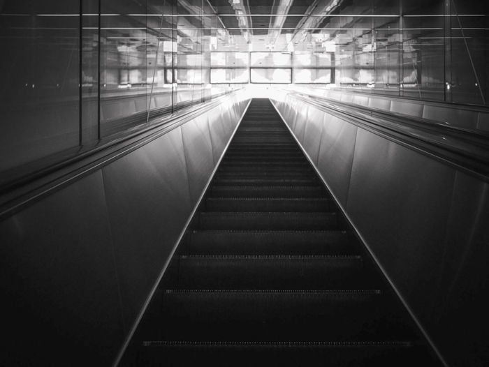 The escalator in black and white color. Go Shade Transportation Under Underground Abstract Architecture Black Blackandwhite Built Structure Day Destination Escalator Illuminated Indoors  Lift Modern Move No People Shadow Slide Steel Strair Subway The Way Forward