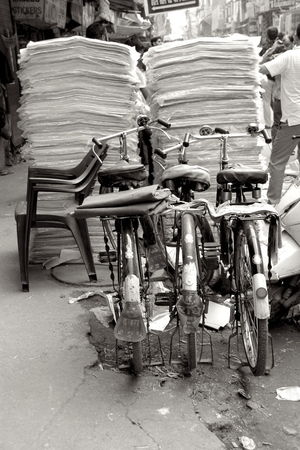 India Bicycle Black And White Photography Chair City Cycling Day Focus On Foreground Footpath Incidental People Land Vehicle Mode Of Transportation Monochrome Old Delhi Oldschool Bike Outdoors People Real People Rickshaw Seat Sitting Stack Street Transportation