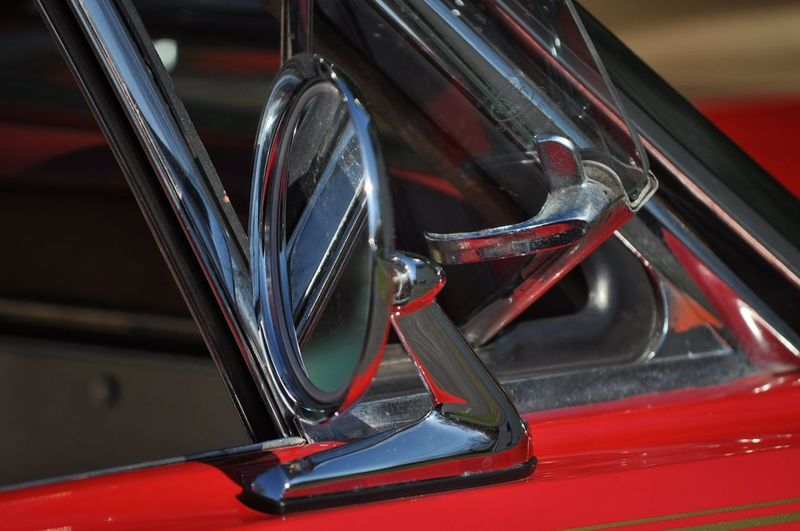 Classic car Red Close-up Vehicle Part Vintage Car Side-view Mirror Collector's Car