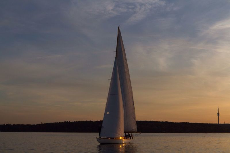 Sunset Sailing Totally Worth It Sky Cloud - Sky Water Sailboat Nautical Vessel Mast No People Scenics Outdoors Nature Beauty In Nature Day