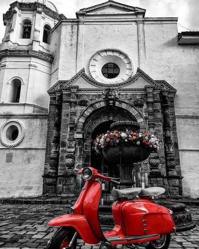 Showcase: January Popayán, Colombia's White City. Colombia Chruch Architecture Architecture_collection Vespa Bike Vintage Classic Blackandwhite Black & White Blackandwhite Photography Monochrome Red Traveling Travel Photography