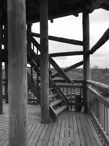 Made With IPhone 7 Black & White Architecture Built Structure Day Bridge Metal Connection Bridge - Man Made Structure Nature No People Sky Outdoors Wood - Material Railing The Way Forward Security Transportation Protection Sunlight Architectural Column Safety