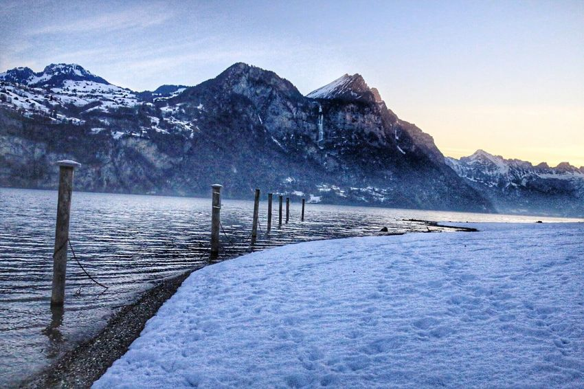 Cold Temperature Winter Snow Nature Mountain Weather Beauty In Nature Tranquility Mountain Range Tranquil Scene Scenics Outdoors Water Sky Day Non-urban Scene No People Sea